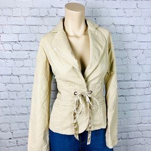 WHBM Tan Khaki Embroidered Jacket w Ribbon Tie 6